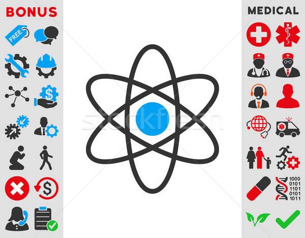átomo ícone vetor estilo símbolo azul Foto stock © ahasoft