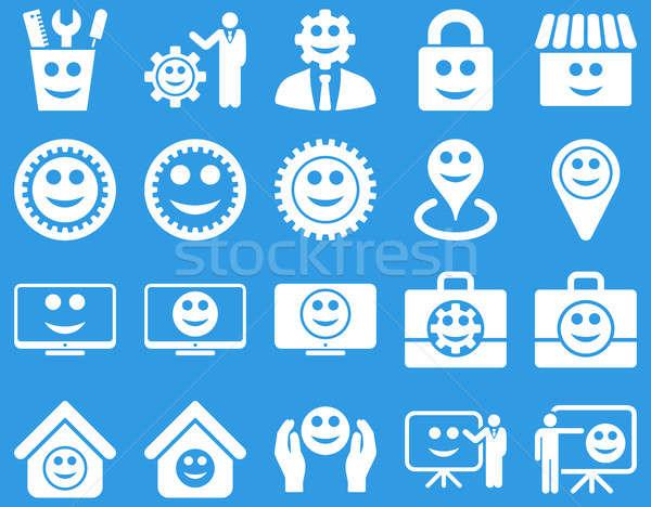 Foto stock: Ferramentas · engrenagens · smiles · gestão · ícones · conjunto