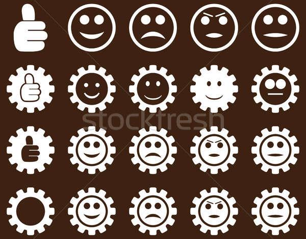 Glimlach versnellingen iconen ingesteld stijl Stockfoto © ahasoft