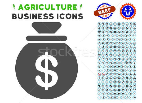 Pénz táska ikon mezőgazdaság szett szürke Stock fotó © ahasoft