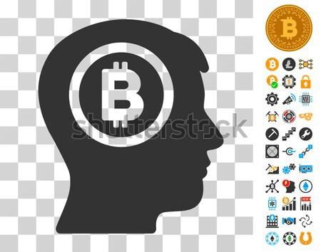 Bitcoin Thinking Head Flat Icon Stock photo © ahasoft