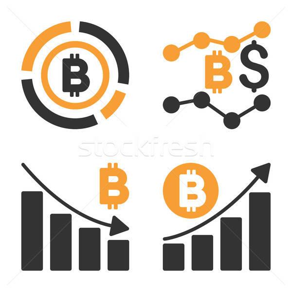 Bitcoin Diagram Vector Icon Set Stock photo © ahasoft