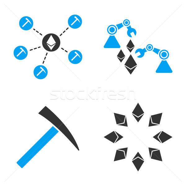Ethereum Mine Vector Icon Set Stock photo © ahasoft