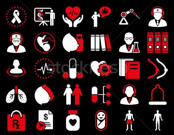 Stockfoto: Medische · iconen · Rood · witte · kleuren