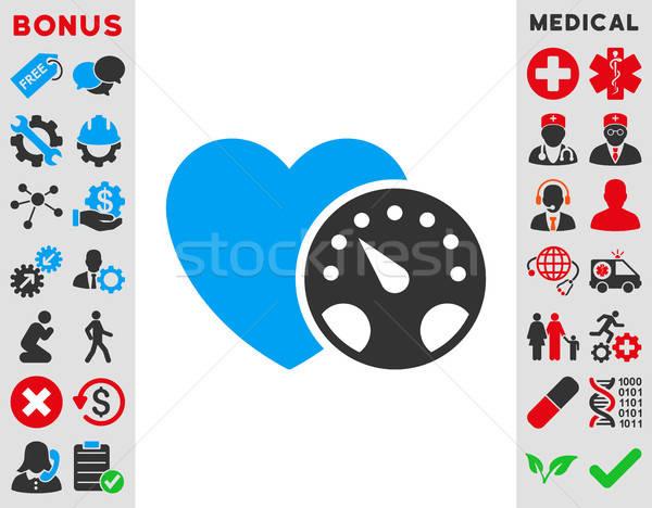 Stockfoto: Bloeddruk · icon · vector · stijl · symbool · Blauw