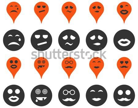 Stok fotoğraf: Gülümsüyor · harita · simgeler · ayarlamak · stil