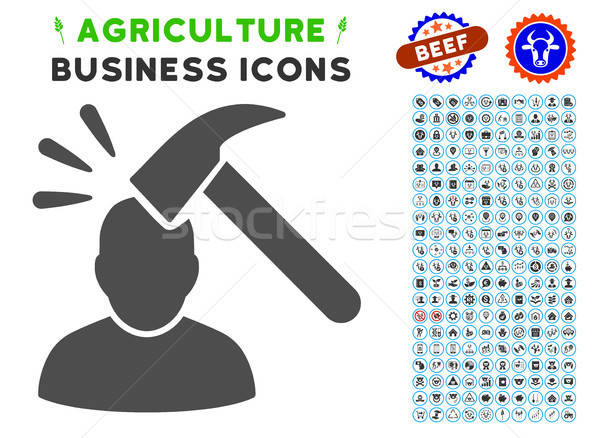 Head Shock Icon with Agriculture Set Stock photo © ahasoft