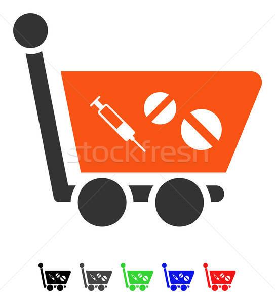 Medication Shopping Cart Flat Icon Stock photo © ahasoft