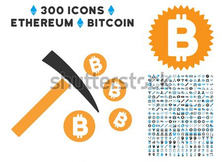 Bitcoin Collect Arrows Flat Icon with Clip Art Stock photo © ahasoft