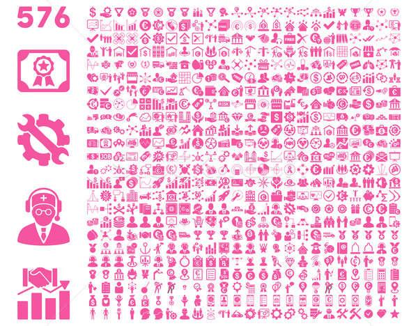 Foto stock: ícones · rosa · cor · isolado