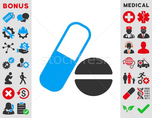 Médication icône vecteur style symbole bleu Photo stock © ahasoft