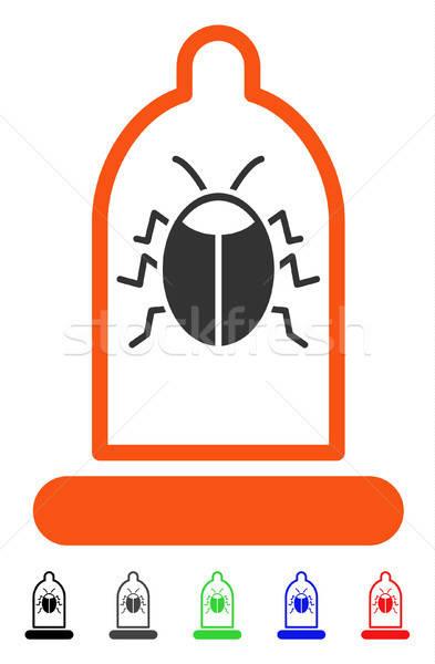 Foto stock: Bicho · proteção · preservativo · ícone · vetor