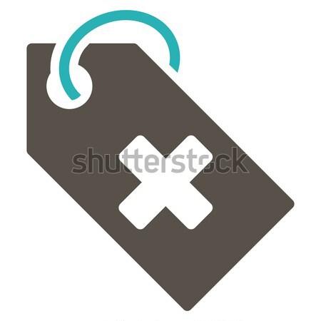 Kórház címke ikon vektor piktogram színes Stock fotó © ahasoft