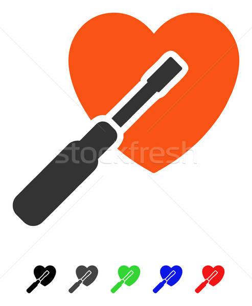 Kalp ayar ikon vektör renkli renk Stok fotoğraf © ahasoft