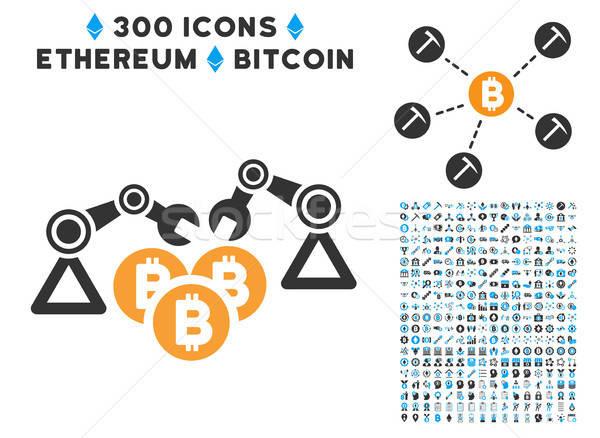 Bitcoin mijnbouw robotica icon smart Stockfoto © ahasoft