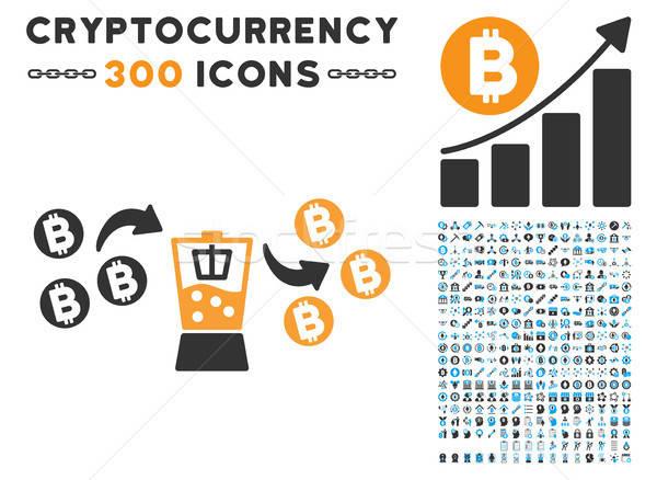 Bitcoin Mixer Flat Icon with Clip Art Stock photo © ahasoft