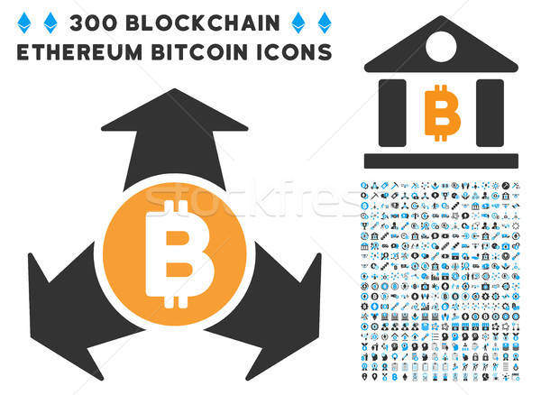 Stock photo: Bitcoin Spend Arrows Flat Icon with Clip Art