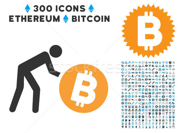 Worker Roll Bitcoin Flat Icon with Stock photo © ahasoft