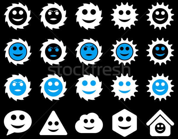 Ferramentas engrenagens smiles emoções ícones conjunto Foto stock © ahasoft