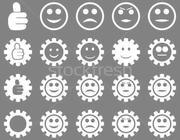 Beállítások mosoly sebességváltó ikonok szett stílus Stock fotó © ahasoft