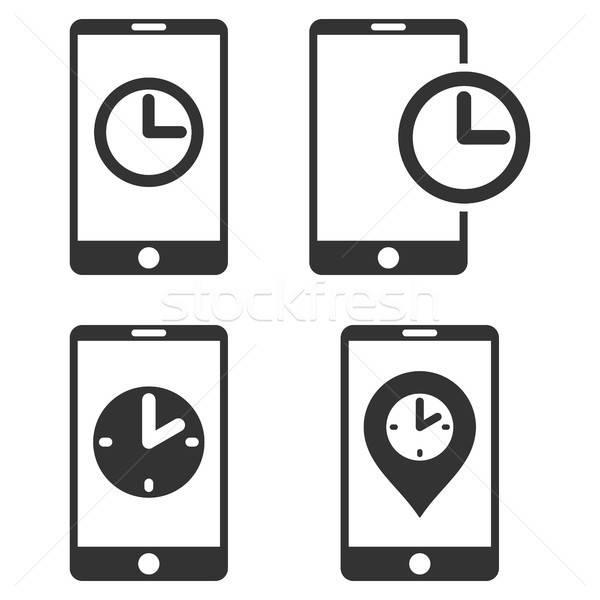 Mobil óra vektor ikon gyűjtemény ikon clipart Stock fotó © ahasoft