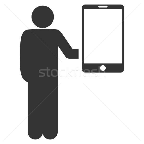 Man Holds Smartphone Flat Raster Icon Stock photo © ahasoft