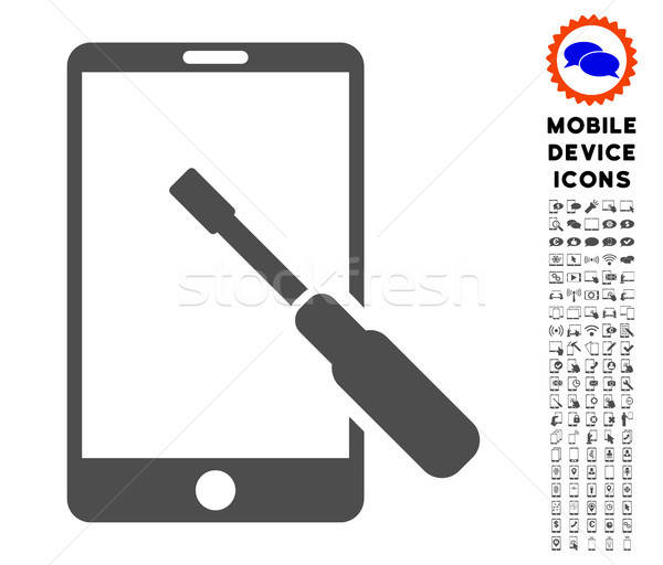 Smartphone Tuning Screwdriver Icon with Set Stock photo © ahasoft