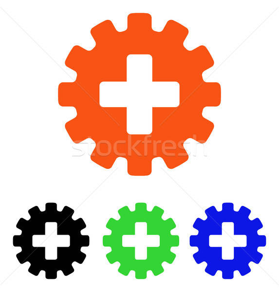 Plus Gear Flat Vector Icon Stock photo © ahasoft