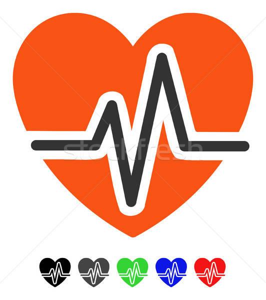 Kalp diyagram ikon renkli renk siyah Stok fotoğraf © ahasoft