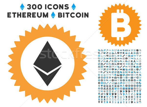Ethereum Stamp Seal Flat Icon with Set Stock photo © ahasoft