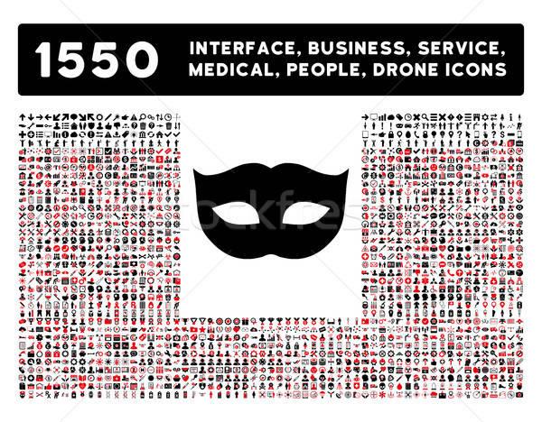 Gizlilik maske ikon daha fazla arayüz iş Stok fotoğraf © ahasoft