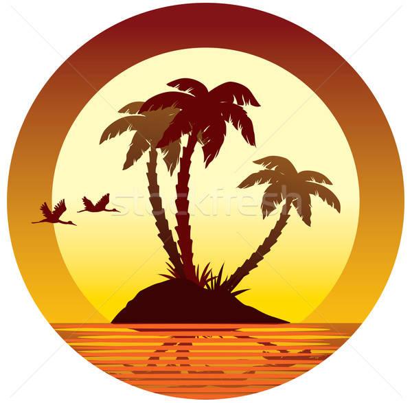 Tropicales vacances coucher du soleil île palmiers Photo stock © Aiel