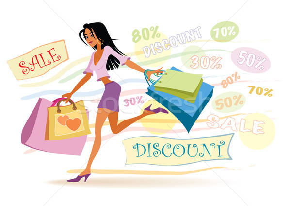 Fille Shopping illustration ventes argent Photo stock © Aiel