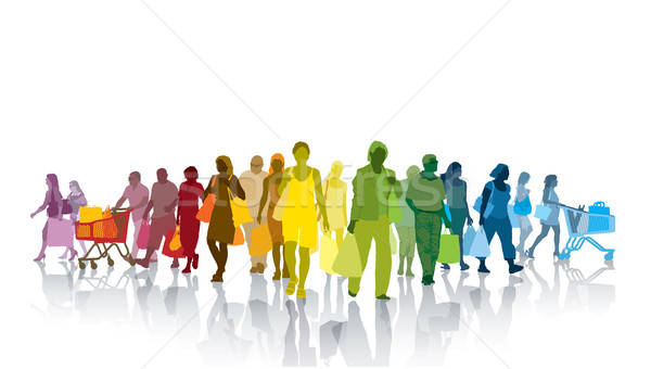 Compras pessoas colorido multidão pessoas felizes Foto stock © Aiel