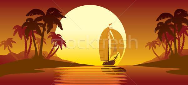 Тропический остров закат пальмами парусного воды пейзаж Сток-фото © Aiel