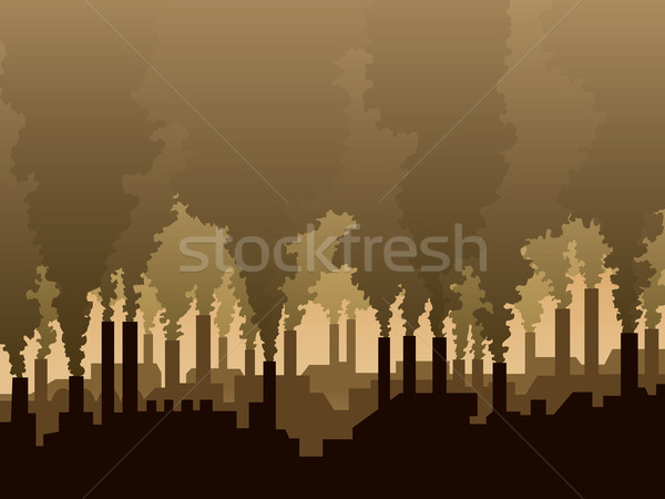 Levegő szennyezés ipari díszlet sziluett gyár Stock fotó © Aiel