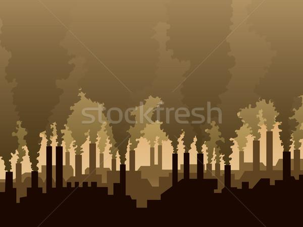 Lucht verontreiniging industriële landschap silhouet fabriek Stockfoto © Aiel