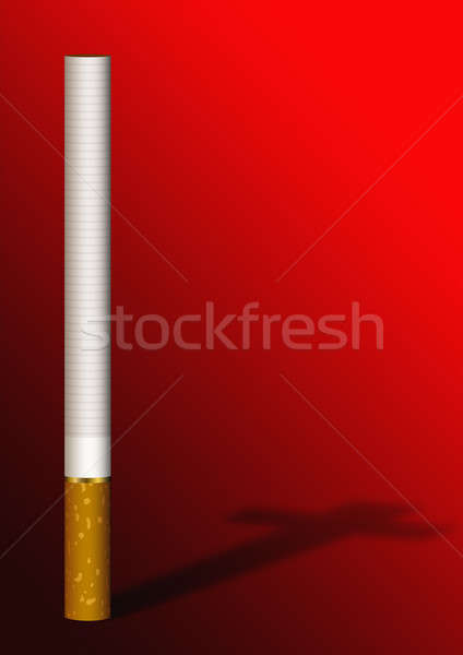 Cigarette cross shadow on red Stock photo © Aiel