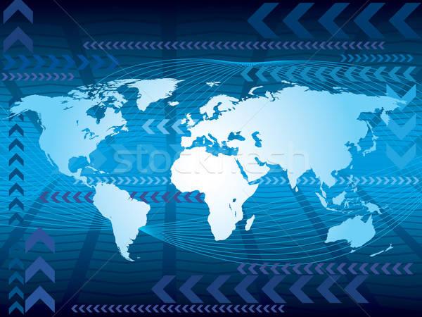 Foto stock: Grande · azul · mapa · mapa · do · mundo · abstrato · negócio