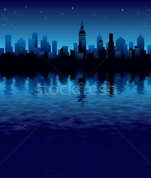 City Night illustratie panorama moderne business gebouw Stockfoto © Aiel