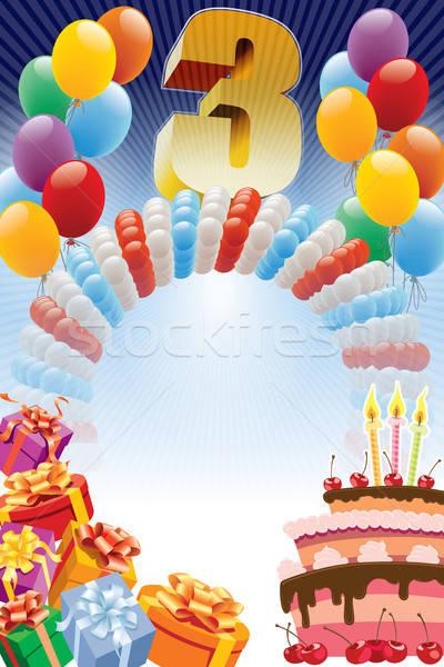 Terceiro aniversário projeto elementos bolo de aniversário cartaz Foto stock © Aiel