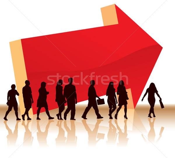 Foto stock: Dirección · personas · grande · rojo · flecha · mujer