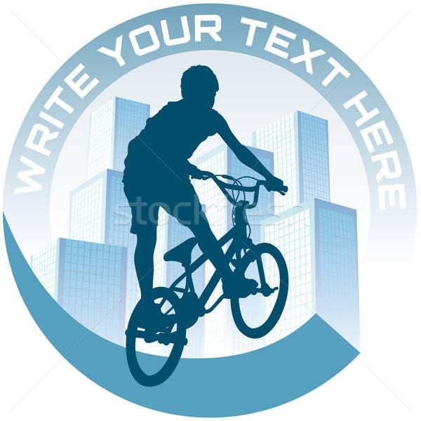 Ciclismo cidade assinar bicicleta céu Foto stock © Aiel