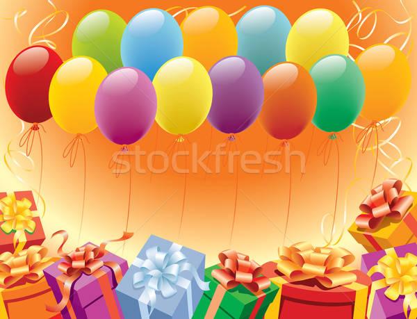 Boldog születésnap léggömbök dekoráció buli fény Stock fotó © Aiel