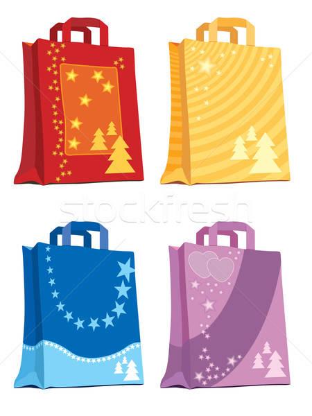 Stock fotó: Bevásárlótáskák · illusztráció · ünnep · dizájnok · papír · boldog