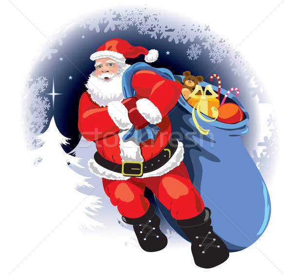 Foto stock: Papá · noel · invierno · árbol · de · navidad · árbol · feliz · resumen