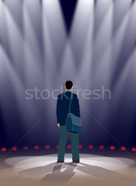Színpad színész áll fény éjszaka színház Stock fotó © Aiel