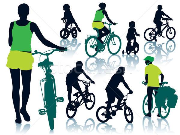 Stok fotoğraf: Bisiklete · binme · insanlar · toplama · siluetleri · kadın · adam