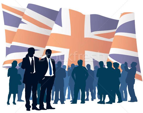 Foto stock: Inglés · negocios · bandera · ilustración · hombre