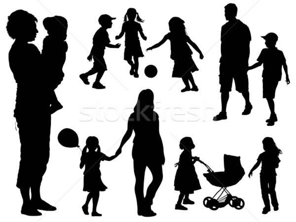 Stock fotó: Család · sziluettek · szett · szülők · gyerekek · lány